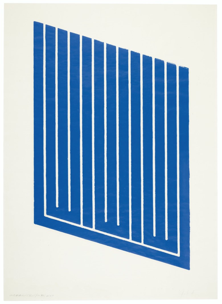 Donald Judd (1928-1994), Untitled One Print,1961-63. Woodcut in cerulean blue on cartridge paper. Sheet 30¼ x 21¾ in (768 x 553 mm). Sold for $15,000 inWorking from Home Prints and Multiples, 30 April-14 May 2020, Online. Artwork © Judd FoundationARS, NY and DACS, London 2020