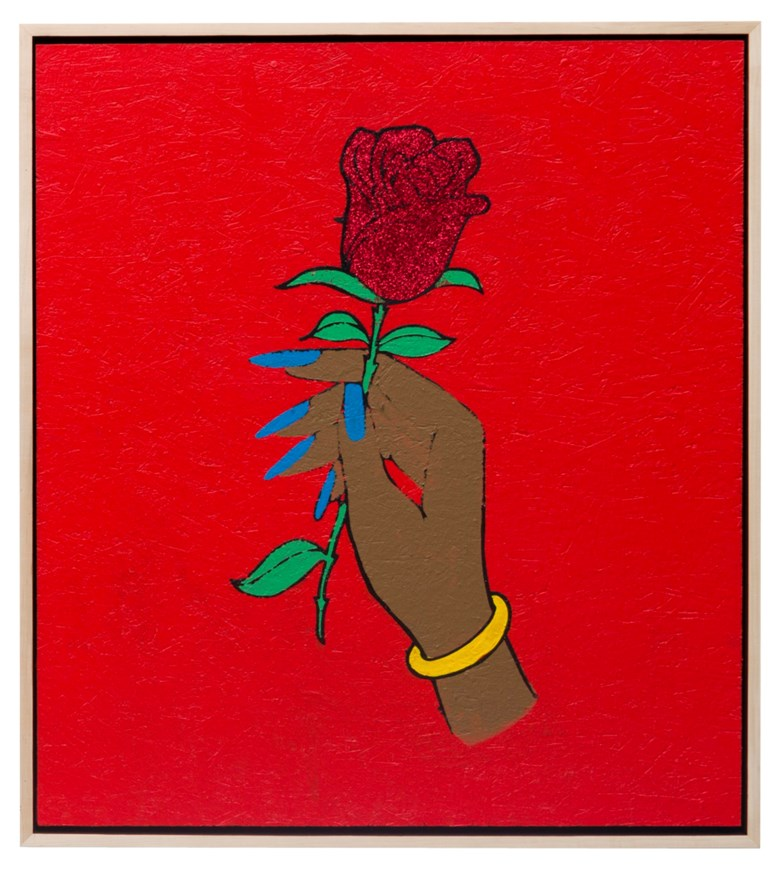 Awol Erizku (b. 1988), Do This - HoodRich Pablo Juan, 2017. Acrylic and glitter on board, in artist's frame,44 x 40 in (111.8 x 101.6 cm). Estimate $12,000-18,000. Offered in  Vice, 12-27 May 2020, Online