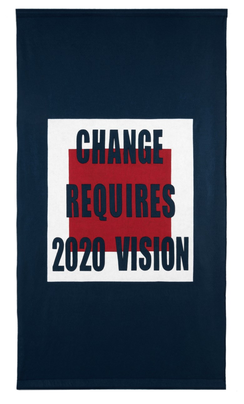 Carrie Mae Weems (b. 1953), Change Requires 2020 Vision, 2018 and executed in 2020. Double-sided sewn felt. 77 x 43½in (195.6 x 110.5 cm). Estimate $20,000-30,000. Offered in  First Open  Online, 30 April to 15 May 2020, Online