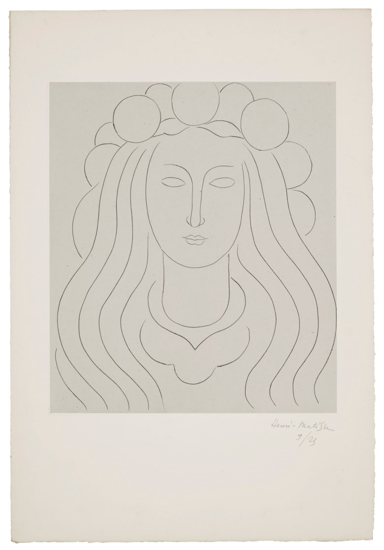 Henri Matisse (1869-1954), Fée au Chapeau du clarté Souvenir du Mallarmé, 1933. Drypoint on Chine appliqué to Arches paper. Sheet 23 x 15¾ in (586 x 400 mm). Estimate $6,000-8,000. Offered in  Matisse on Paper Prints & Drawings from the Estate of Jacquelyn Miller Matisse, 8-22 October 2020, Online