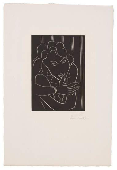 Henri Matisse (1869-1954), Femme le pouce sur les lèvres, 1938. Linocut, on G. Maillol paper. Sheet 23¾ x 16 in (605 x 405 mm). Estimate $5,000-7,000. Offered in  Matisse on Paper Prints & Drawings from the Estate of Jacquelyn Miller Matisse, 8-22 October 2020, Online