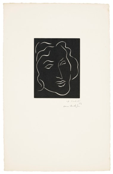 Henri Matisse (1869-1954), Florentine, 1938. Linocut, on Daragnès paper. Sheet 20½ x 13 in (520 x 330 mm). Estimate $6,000-8,000. Offered in Matisse on Paper Prints & Drawings from the Estate of Jacquelyn Miller Matisse, 8-22 October 2020, Online