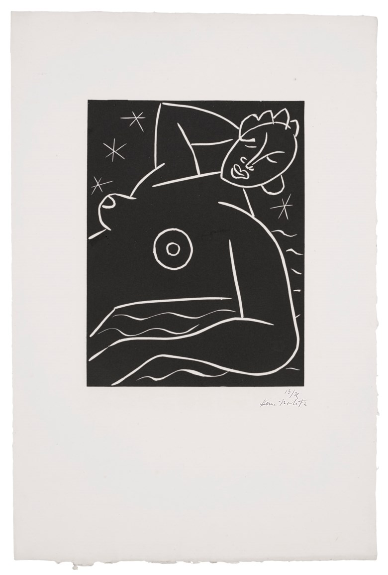 Henri Matisse (1869-1954), La Frégate, 1938. Linocut, on wove paper. Sheet 23¾ x 15¾ in (603 x 402 mm). Estimate $10,000-15,000. Offered in  Matisse on Paper Prints & Drawings from the Estate of Jacquelyn Miller Matisse, 8-22 October 2020, Online