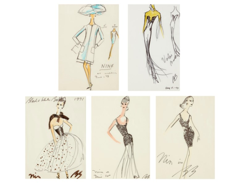 Bill Blass (1922-2002), Five sketches of dresses. Each variously inscribed, dedicated to Nina and signed. Ink and coloured ink on paper. 11¾ x 8¾ in (29 x 22.3 cm), the largest. Sold for $3,500 inAmerican Muse The Collection of Nina Griscom, 2-17 December 2020, Online