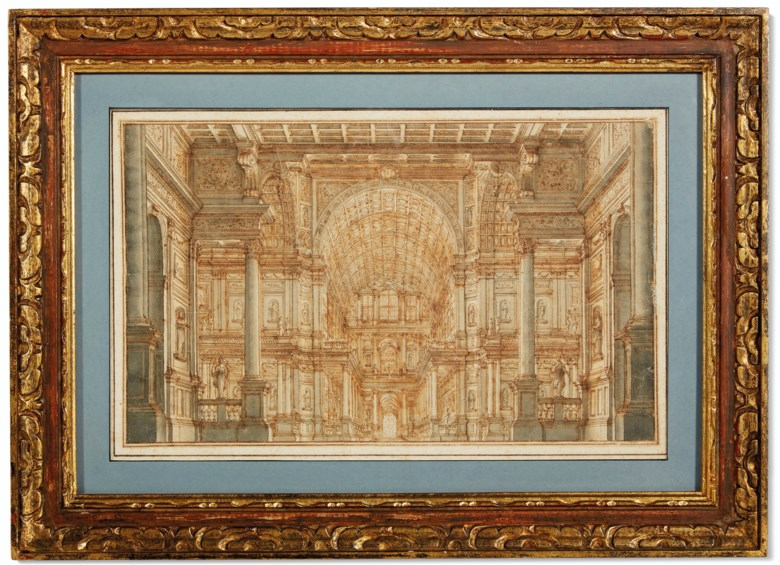 Ferdinando Galli Bibiena (1657-1743), A stage design with a monumental hall with columns and statues. Pen and brown ink and grey wash on paper. 8⅞ x 14¼ in (22.6 x 36.3 cm). Sold for $4,375 inAmerican Muse The Collection of Nina Griscom, 2-17 December 2020, Online