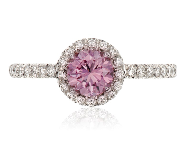 Fancy purplish pink diamond ring of 0.64 carats with GIA report. 1 round brilliant-cut fancy purplish pink diamond measuring 5.31-5.40 x 3.54 mm and weighing 0.64 carats. Estimate $30,000-50,000. Offered in  Jewels Online Summer Sparkle, 12-27 August 2020, online