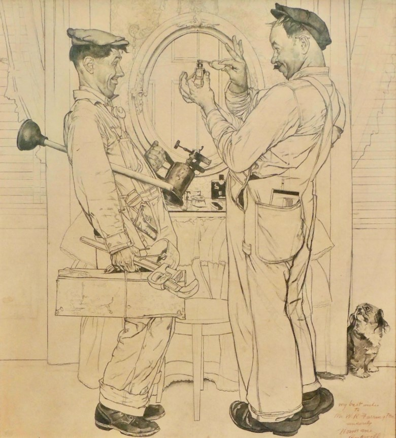 Norman Rockwell (1894-1978), Study for Two Plumbers, 1951. Charcoal and pencil on paper. 42 x 36 in. Available for immediate purchase. Offered in Art of the Cover in Private Sales at Christie's