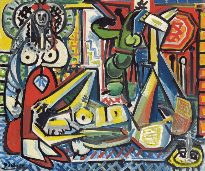 Pablo Picasso (1881-1973), Les femmes dAlger (version F), 1955. Oil on canvas. 21⅜ x 25⅝  in (54.2 x 65  cm). Sold for $29,217,500 in ONE A Global Sale of the 20th Century on 10 July 2020 at Christie's in New York. © 2020 Estate of Pablo Picasso  Artists Rights Society (ARS), New York