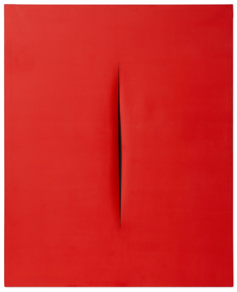 Lucio Fontana (1899-1968), Concetto Spaziale, Attesa, 1966. Waterpaint on canvas. 63¼ x 51½ in (160.6 x 130.8 cm). Estimate $7,500,000-10,500,000. Offered in ONE A Global Sale of the 20th Century on 10 July 2020 at Christie's in New York