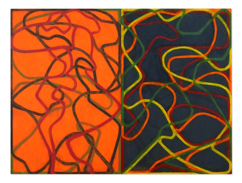 Brice Marden (b. 1938), Complements,  2004-2007. Oil on canvas, in two parts. Each canvas 72 x 48  in (182.9 x 121.9  cm). Sold for $30,920,000 in ONE A Global Sale of the 20th Century on 10 July 2020 at Christie's in New York. © 2020 Brice Marden  Artists Rights Society (ARS), New York