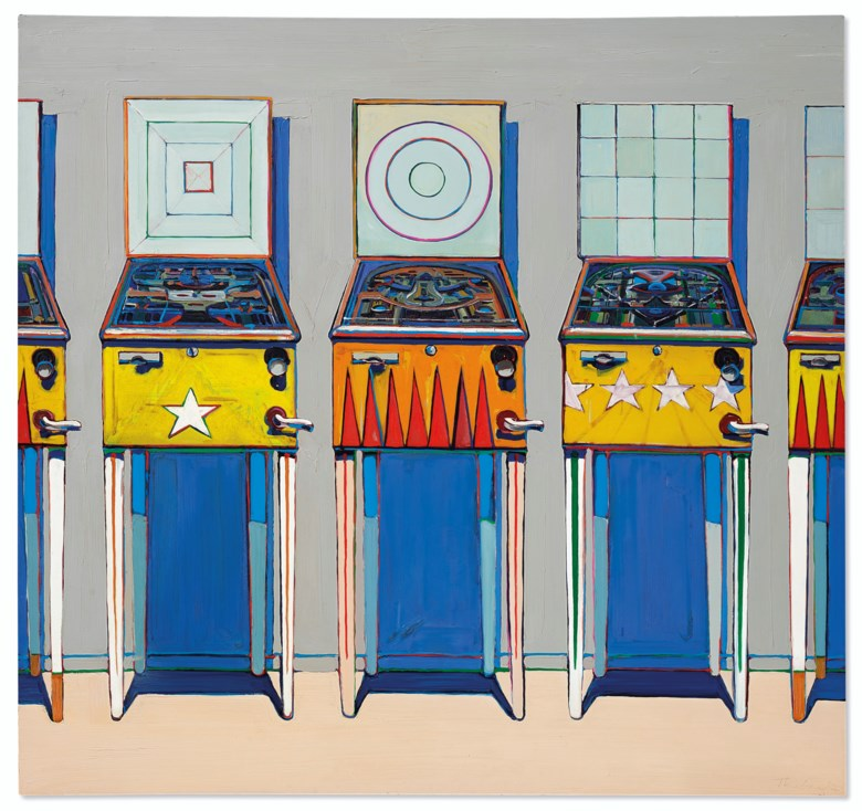 Wayne Thiebaud (b. 1920), Four Pinball Machines, 1962. Oil on canvas. 68 x 72  in (172.7 x 182.8  cm). Sold for $20,137,500 in ONE A Global Sale of the 20th Century on 10 July 2020 at Christie's in New York. © 2020 Wayne Thiebaud  Licensed by VAGA at Artists Rights Society (ARS), NY