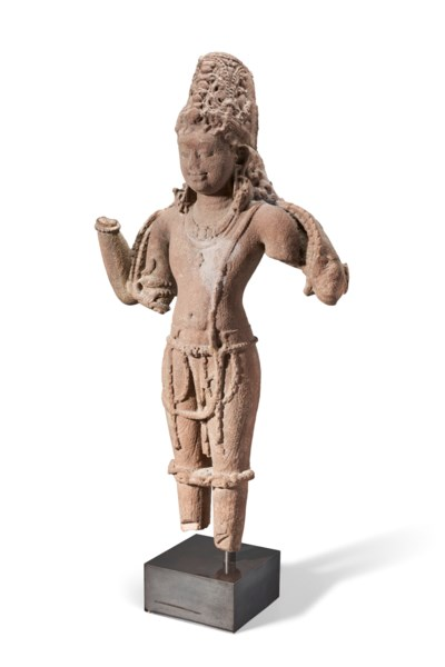 A RED SANDSTONE FIGURE OF VISH