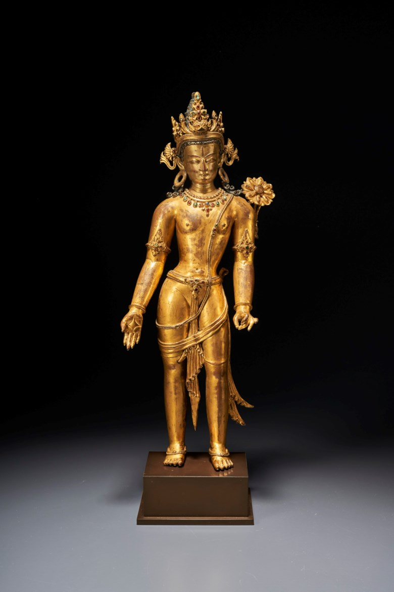 An important gilt-copper figure of padmapani lokeshvara, Nepal, 13th century. 16 ½  in (41.9  cm) high. Estimate $2,000,000-3,000,000. Offered in Indian, Himalayan & Southeast Asian Works of Art  on 24 September 2020 at Christie's in New York