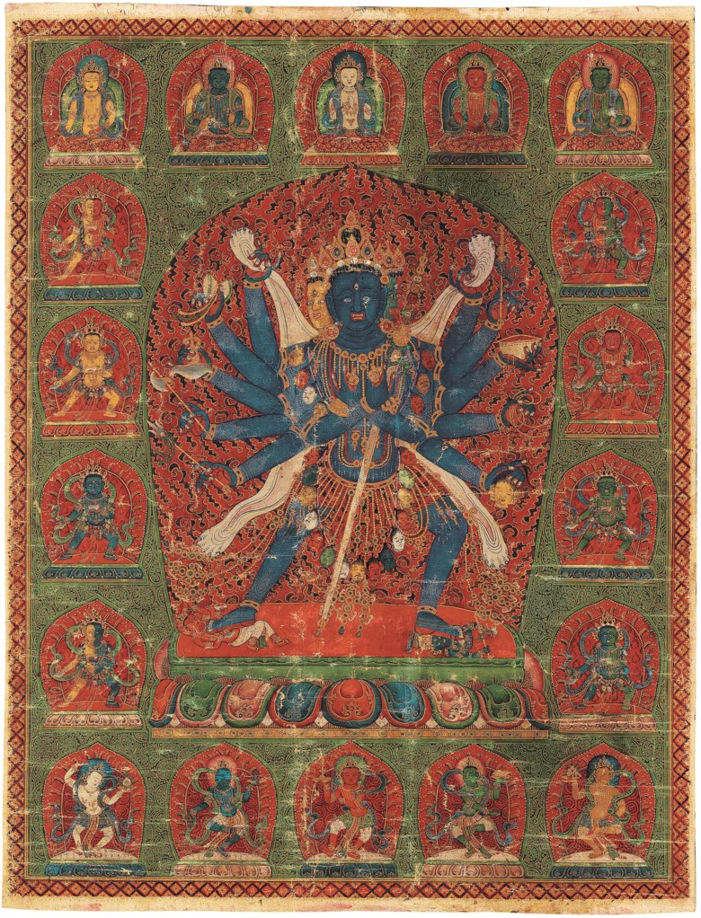 An important imperial painting of Chakrasamvara, China, dated to the 13th year of Chenghua, corresponding to 1477. Dimensions 24¾ x 19  in (62.8 x 48.2  cm). Estimate $300,000-500,000. Offered in Indian, Himalayan & Southeast Asian Works of Art on 24 September 2020 at Christie's in New York