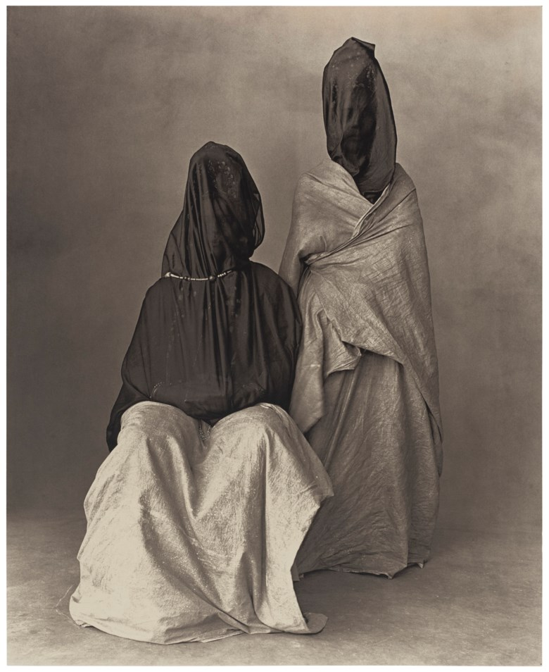 Irving Penn (1917-2009), Two Guedras, Morocco, 1971. Platinum-palladium print, mounted on aluminium. Mount 26 x 22 in (66 x 55.8 cm). Estimate $40,000-60,000. Offered in The Unseen Eye Photographs from the W.M. Hunt Collection, 5-14 October 2020, Online