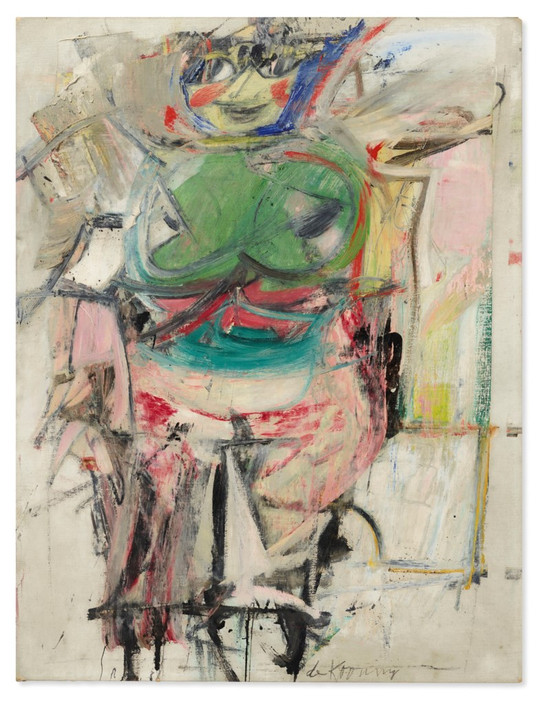 Willem de Kooning (1904-1997), Woman (Green), 1953-1955. Oil and charcoal on canvas. 30¼ x 23¼ in (76.8 x 59.1 cm). Estimate $20,000,000-30,000,000. Offered in 20th Century Evening Sale on 6 October 2020 at Christie's in New York. © The Willem de Kooning Foundation  Artists Rights Society (ARS), New York and DACS, London 2020