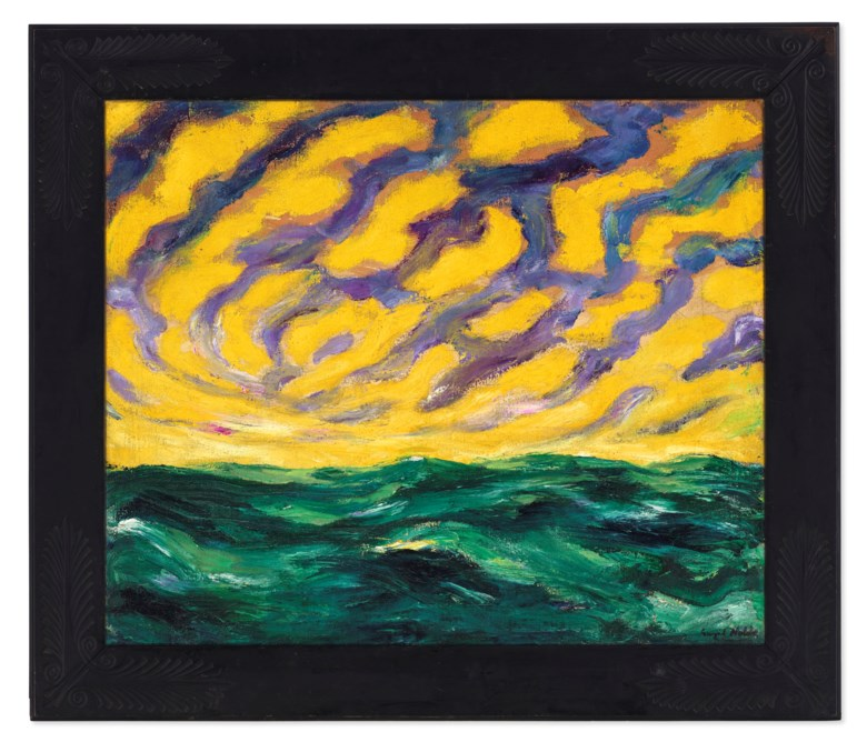 Emil Nolde (1867-1956), Herbstmeer XVI, 1911. Oil on canvas. Canvas 29 x 35 in (73.7 x 88.9 cm). Frame 36½ x 42½ in (92.7 x 108 cm). Estimate $6,000,000-8,000,000. Offered in 20th Century Evening Sale on 6 October 2020 at Christie's in New York