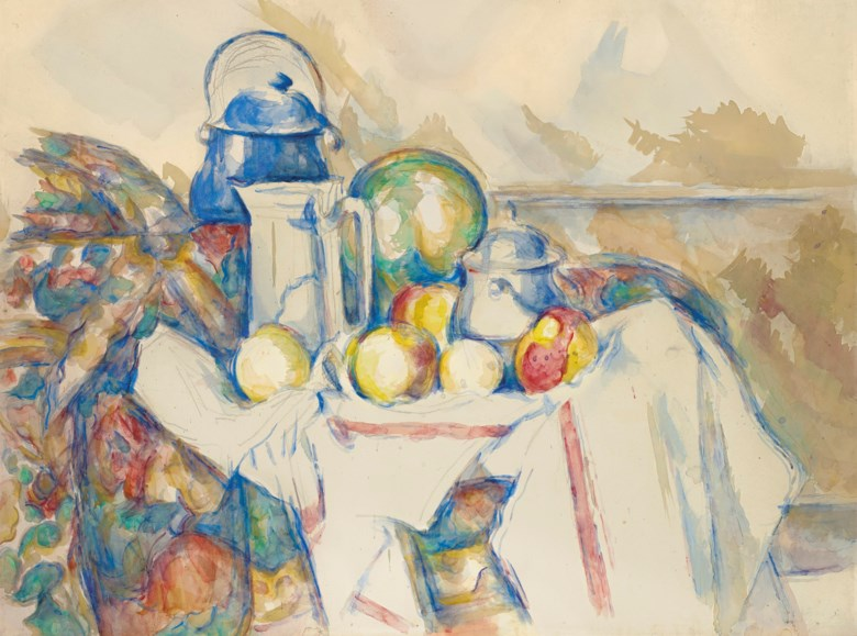 Paul Cézanne (1839-1906), Nature morte avec pot au lait, melon et sucrier, 1900-1906. Watercolour and gouache over pencil on paper. 18¾ x 24½  in (47.7 x 62.3  cm). Sold for $28,650,000 on 6 October 2020 at Christie's in New York