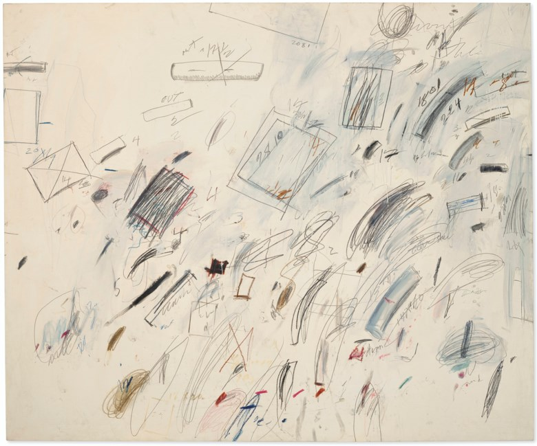 Cy Twombly (1928-2011), Untitled [Bolsena], 1969. Oil-based house paint, wax crayon, graphite and felt-tip pen on canvas. 78½ x 94½  in (199.4 x 240  cm). Sold for $38,685,000 on 6 October 2020 at Christie's in New York. Artwork © Cy Twombly Foundation