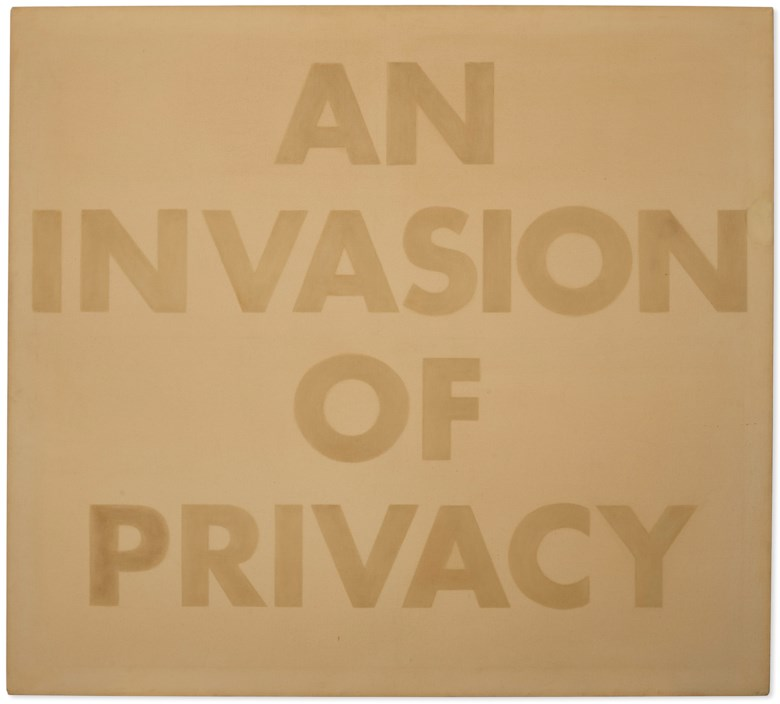 Ed Ruscha (b. 1937), An Invasion of Privacy, 1973. Grass stain on canvas. 54⅜ x 59⅞  in (138.1 x 152.1  cm). Estimate $2,500,000-3,500,000. Offered in 20th Century Evening Sale on 6 October 2020 at Christie's in New York