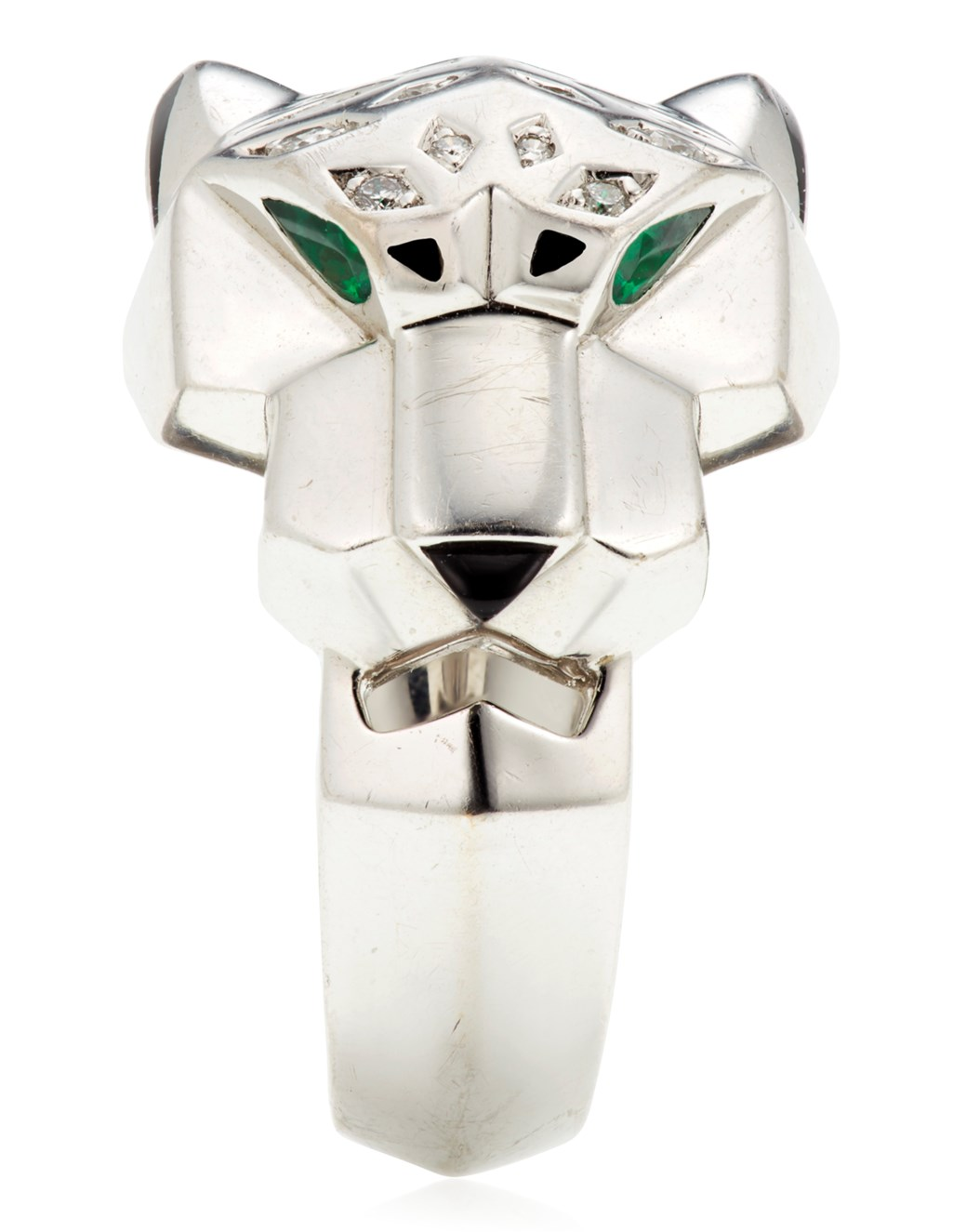 CARTIER DIAMOND, EMERALD AND ONYX 'PANTHÈRE' RING
