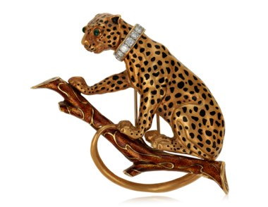 A diamond Panther brooch, by David Webb. Sold for $8,750 on 27 October 2020, Online