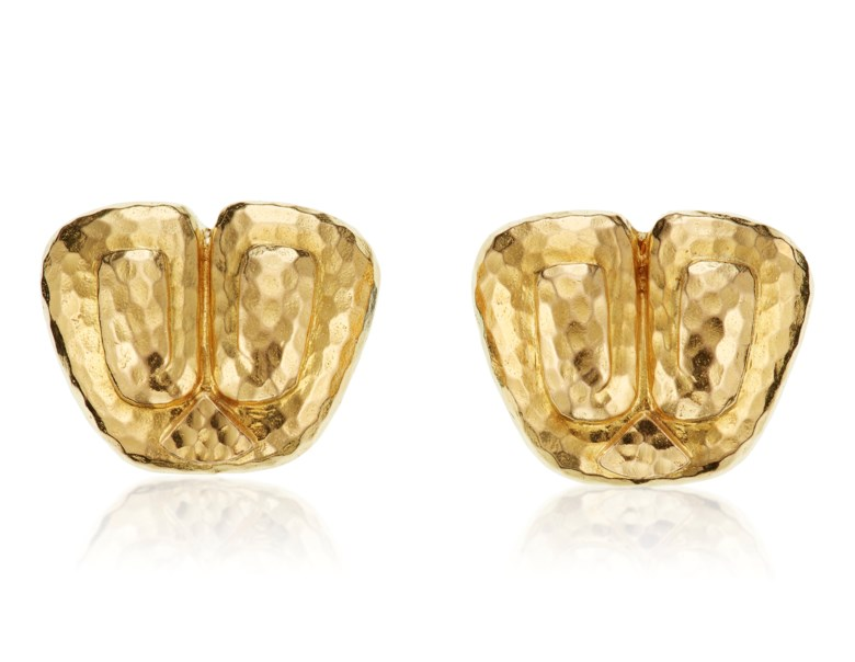 A pair of gold earrings, by David Webb. Estimate $2,000-3,000. Offered in  Jewels Online Iconic Designs, 13-27 October 2020, Online