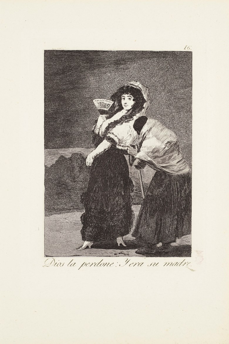 Francisco de Goya y Lucientes (1746-1828), For Heavens sake and it was her mother (Dios la perdone y era su madre), 1799. Etching with burnished aquatint, drypoint and engraving on laid paper. Plate 16 from Los Caprichos. Sheet 11¾ x 8 in (298 x 203 mm). Estimate $4,000-6,000. Offered in The Sleep of Reason Francisco Goya's Los Caprichos, 8-23 October 2020, Online