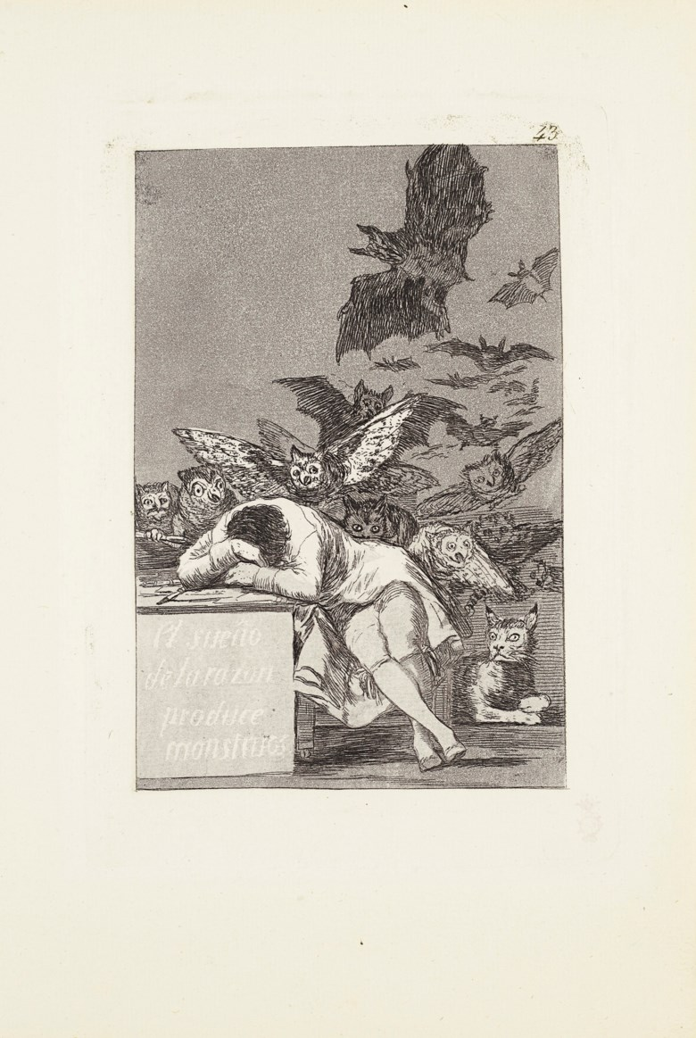 Francisco de Goya y Lucientes (1746-1828), The sleep of reason produces monsters (El sueño de la razón produce monstruos), 1799. Plate 43 from Los Caprichos. Etching with burnished aquatint, drypoint and engraving, on laid paper. Plate 8½ x 5⅞ in (216 x 149 mm). Sheet 11¾ x 8 in (298 x 203 mm). Sold for $81,250 on 8-23 October 2020 at Christies Online