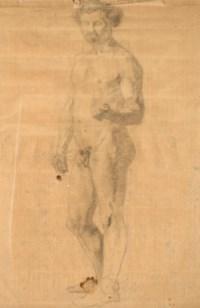 Homme à demi-couché sur un sopha (recto) ; Étude de nu debout (verso)