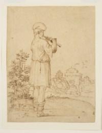 Joueur de flûte dans un paysage