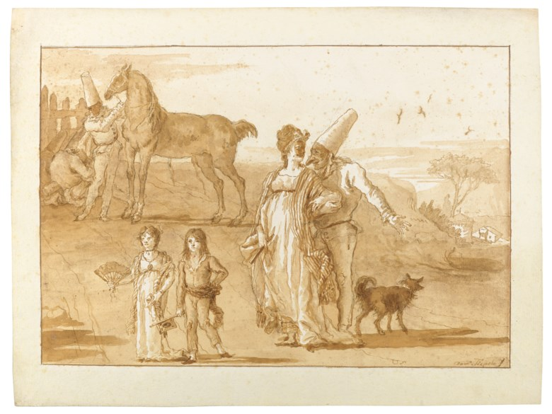 Giovanni Domenico Tiepolo (1727-1804), Punchinello in the company of a lady with two children and a horse. Graphite, pen and brown ink, brown wash. 14 x 18½ in (35.7 x 47.2  cm). Sold for €562,000 on 27 May 2020 at Christie's in Paris