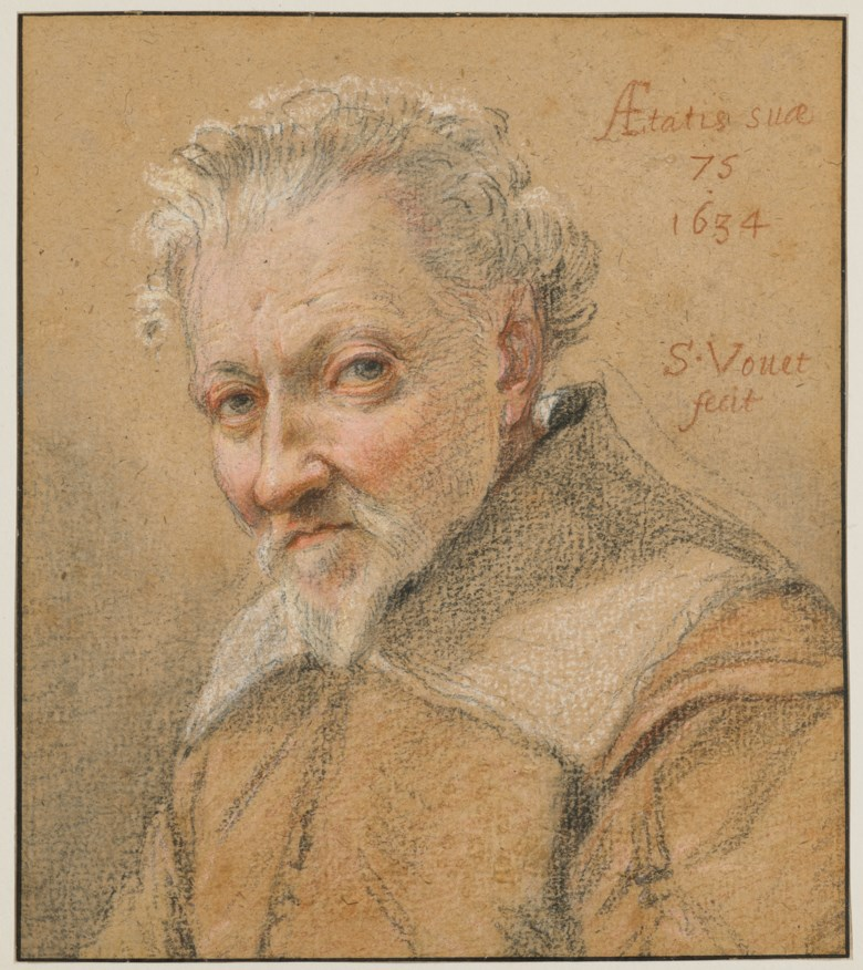 Simon Vouet (Paris 1590-1649), Portrait of a 75-year-old man, 1634. Black, red chalk, pastel on beige paper, framing lines in pen and black ink. 17.6 x 15, 6  cm (6⅞ x 6⅛  in). Estimate €100,000-150,000. Offered in Ancient and XIXth Century Drawings on 27 May 2020 at Christie's in Paris