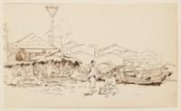 Quatre scènes de la vie quotidienne chinoise : deux scènes de repas et deux études de personnages aux abords d'un temple