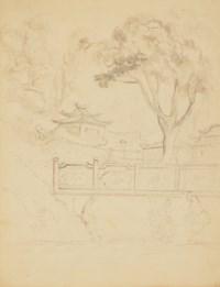 Quatre vues de Chine : Bateaux à Macao, Un voilier, Deux chinois assis devant leur maison, Temple dans un paysage