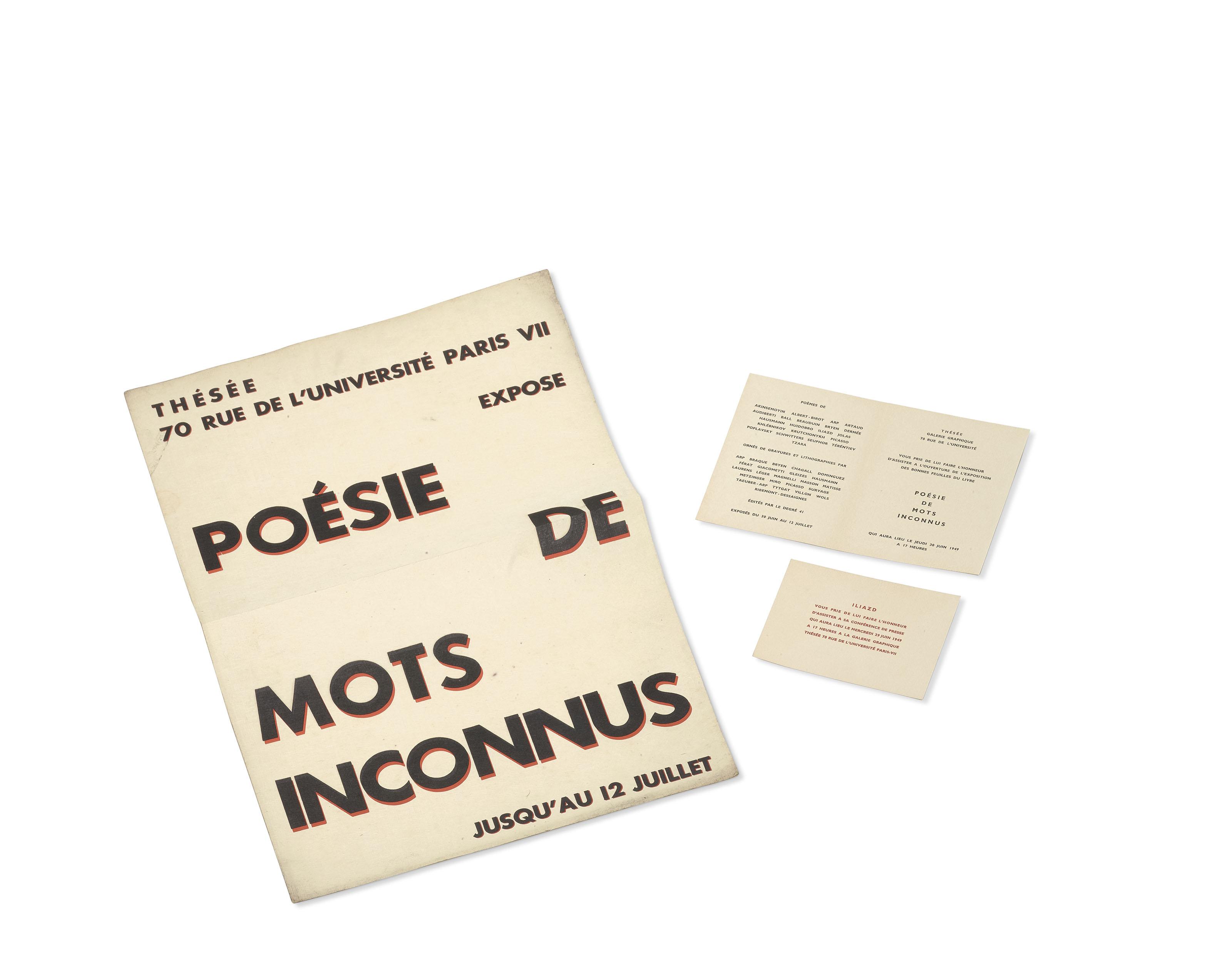 ILIAZD, Ilia Zdanevitch dit. Poésie de mots inconnus - Affiche et invitations. 1949