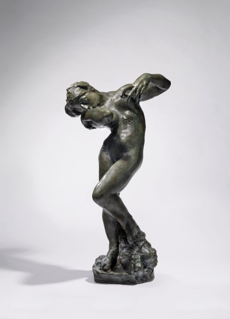 Auguste Rodin (1840-1917), Méditation, petit modèle, version type I, conceived by 1887; this bronze cast in 1943 in an edition of 13. Bronze with green patina. Height 74  cm. Estimate €400,000-600,000. Offered in Art Impressionniste et Moderne on 4 June 2020 at Christie's in Paris