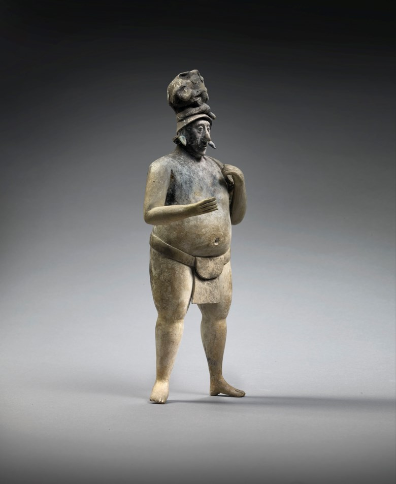 An important statue of a dignitary, Mayan, Jaina, late Classic, 550-950 AD. Height 12 in (30.6 cm). Estimate €90,000-120,000. Offered in Pre-Columbian Art on 29 June 2020 at Christie's in Paris