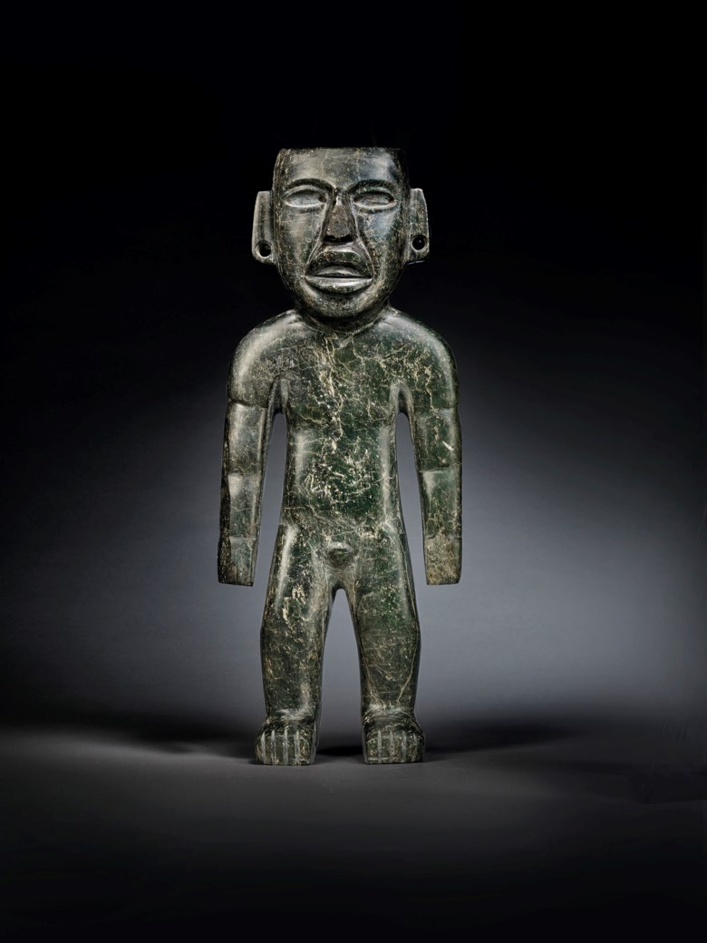 An important Teotihuacan statue, Pre-Classic, circa 300 BC-300 AD. Height 16⅞ in (42.9 cm). Estimate €250,000-450,000. Offered in Pre-Columbian Art on 29 June 2020 at Christie's in Paris