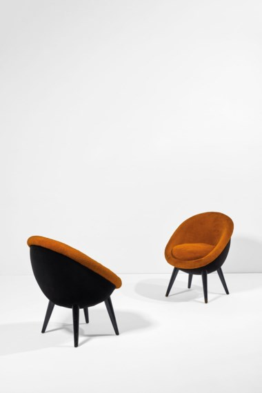 Jean Royère (1902-1981), Pair of Egg armchairs , high version, the model created around 1954, these made in 1962. Original velvet upholstered and lacquered European beech. Each 74 x 58 x 65 cm  29⅛ x 22¾ x 25⅝ in. Estimate €80,000-120,000. Offered in Design on June 30 2020 at Christie's in Paris