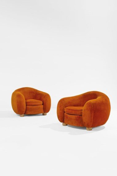 Jean Royère (1902-1981), Pair of Boule armchairs called Polar Bear, the model created in 1947, these made in 1962. Original velvet upholstered ash wood. Each 70 x 93 x 96 cm  27½ x 36⅝ x 37¾ in. Estimate €300,000-500,000. Offered in Design on June 30 2020 at Christie's in Paris