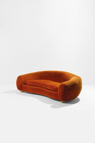 Jean Royère (1902-1981), Sofa Boule called Polar Bear, the model created in 1947, this one made in 1962. Original velvet upholstered ash wood. 70 x 239 x 120 cm  27½ x 94 x 47¼ in. Estimate €300,000-500,000. Offered in Design on June 30 2020 at Christie's in Paris