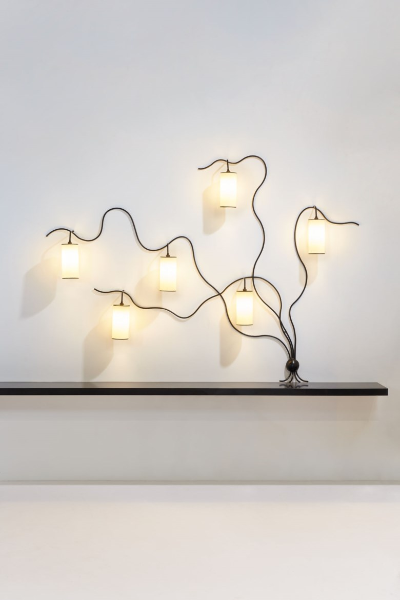 Jean Royère (1902-1981), Liane six-light sconce, special order, 1962. Original Rhodoid  painted metal shades. 168 x 234 x 18 cm  66⅛ x 92⅛ x 7⅛ in. Estimate €400,000-600,000. Offered in Design on June 30 2020 at Christie's in Paris