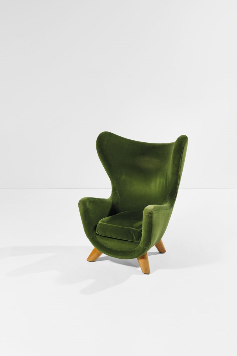 Jean Royère (1902-1981), Éléphanteau armchair, high version, the model created around 1939, this one made in 1962. Original velvet upholstered ash wood. 108 x 86 x 86 cm  42½ x 33⅞ x 33⅞ in. Estimate €80,000-100,000. Offered in Design on June 30 2020 at Christie's in Paris