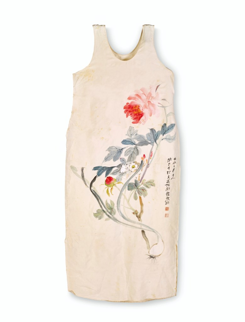 Zhang Daqian (1899-1983), Pivoines, 1952. Ink and colour on silk dress. Signed by the artist with two seals dated third month of renchen year (1952). Height 110 cm, width 49 cm (43⅜ x 19⅜ in). Estimate €10,000-15,000. Offered in Art dAsie on 23 June 2020 at Christie's in Paris