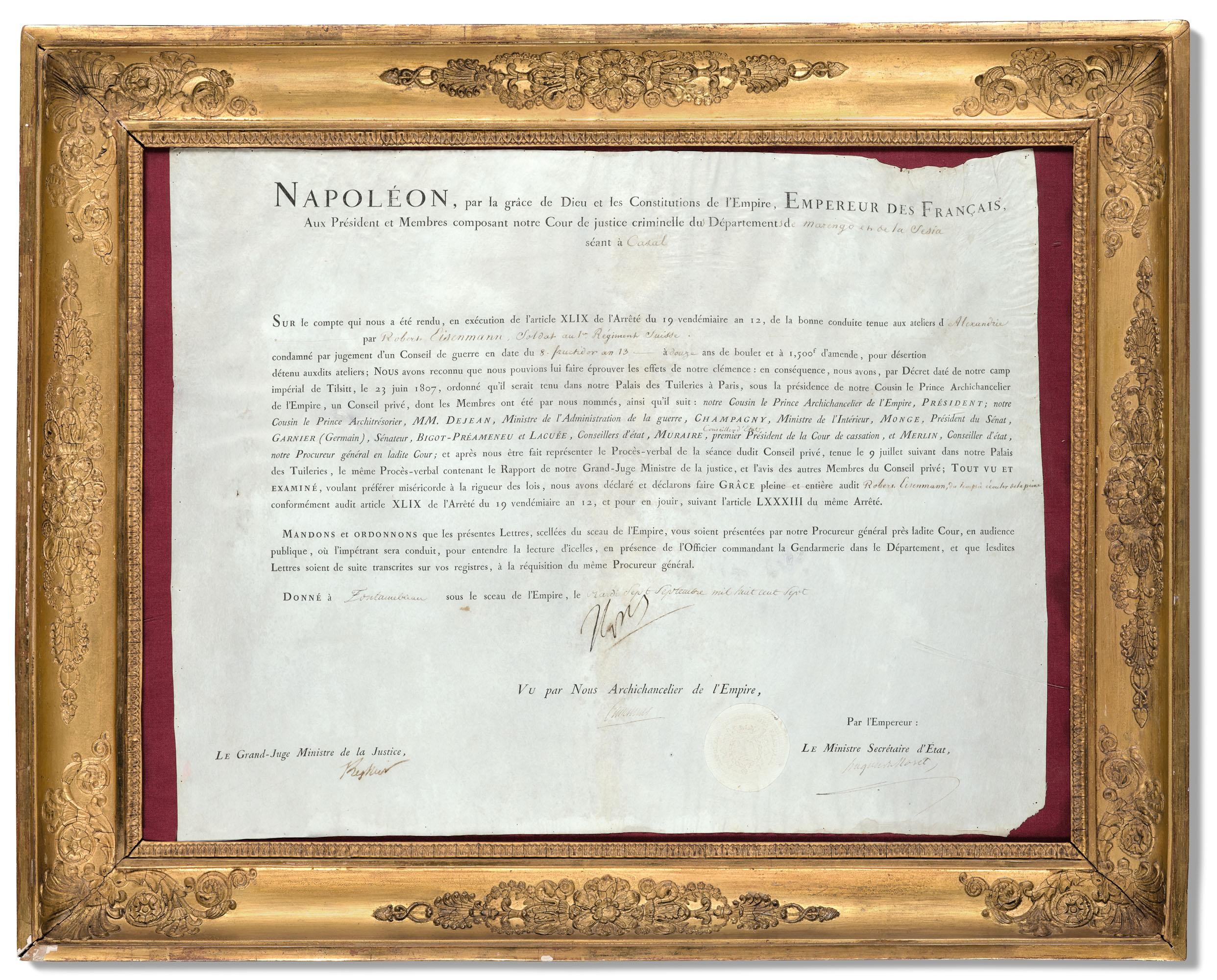 Napoleon Bonaparte 1769 1821 Lettre De Grace Signee Accordee A Robert Eisenmann Soldat Au Ier