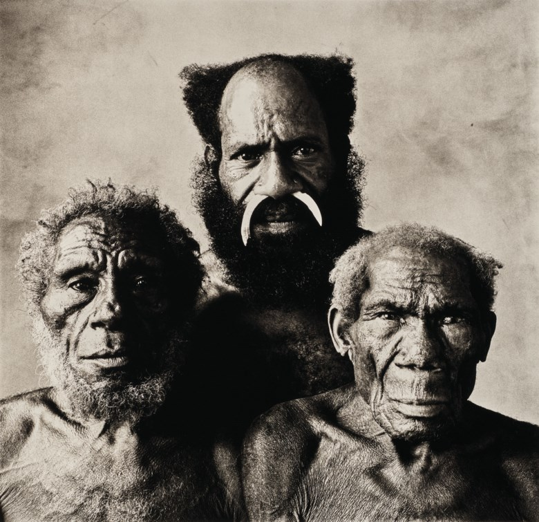Irving Penn (1917-2009), Father, Son and Grandfather, New Guinea, 1970. Montage 66.2 x 56  cm (26 x 22  in). Estimate €40,000-60,000. Offered in Photographs on 10 November 2020 at Christie's in Paris