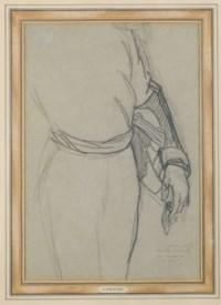 Etude pour la figure de Napoléon III debout avec sa ceinture et son épée (recto); Etude d'un bras gauche tenant un gant et un tricorne (verso)