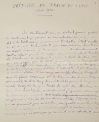 """ARAGON, Louis (1897-1982). Traité du style. Paris: N.R.F., 1928. [avec] Critique du Traité du style. Manuscrit autographe signé, daté """"Juin 1930""""."""
