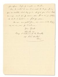 GENET, Jean (1910-1986). Lettre autographe signée à Jean Cocteau, du « Camp d'internement des Tourelles [août 1943] ».